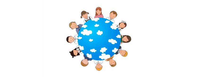 el universo de 'el perruco' ilustración de globo terráqueo con niños